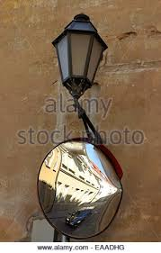 Blind Corner Mirror Street Mirror On A Blind Corner Stock Photo Royalty Free Image