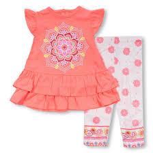 bon bebe infant medallion flutter leg sleeve orange