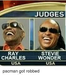 Stevie Wonder Memes - judges ray charles stevie wonder usa usa pacman got robbed meme on