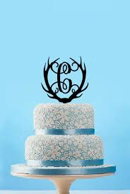 monogram antlers cake topperbridal shower cake topperhunting