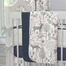 woodland animals baby bedding navy and gray woodland crib blanket carousel designs