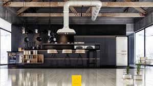 design industrial black kitchen white feature wallmount range