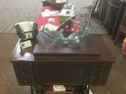 antique treadle sewing machine vanity dark walnut designs by