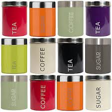 storage canisters kitchen set of 3 new tea coffee sugar kitchen storage canisters jars pots