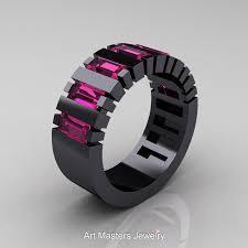 mens black wedding bands mens modern 14k black gold baguette pink sapphire cluster tank