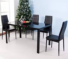 Dining Room Table Glass Amazon Com Merax 5 Piece Dining Set Glass Top Metal Table 4