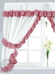 red kitchen valance curtains gingham check red white kitchen