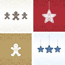 cute christmas cards with stars and gingerbread men vector free