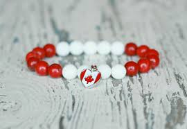 canada flag bracelet for women white red maple leaf canada day