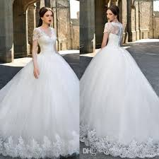new v neck ball gown wedding dresses sheer short sleeves lace top