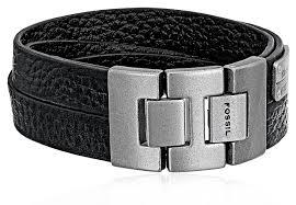 fossil black leather bracelet images Fossil men 39 s double strap leather bracelet jewelry jpg