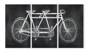tandem bicycle 3 panel canvas print reviews joss