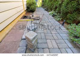 Yard Patio Garden Patio Backyard Stone Brick Pavers Stock Photo 451543987
