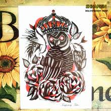 buy black owl tattoo and get free shipping on aliexpress com