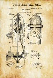 fire hydrant patent patent print wall decor fireman gift