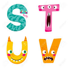 funny halloween alphabet with cute s t u v monster characters