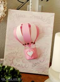 the moon and me you make my heart soar air balloon art