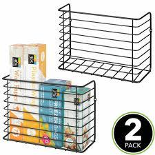 kitchen cabinet door storage racks metal kitchen farmhouse wall cabinet door mount storage organizer basket pack of 2