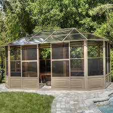 Outdoor Patio Gazebo 12x12 by Gazebo Penguin Four Season Solarium 12 Ft W X 18 Ft D Aluminum