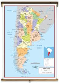 Political Map Of South America by Argentina Political Educational Wall Map From Academia Maps
