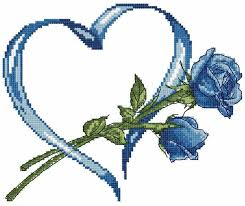 blue and cross stitch free embroidery design