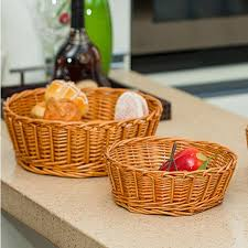Wicker Desk Organizer Handmade Rattan Storage Basket Decorative Wicker Baskets For Fruit