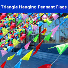 Plastic Flags Hanging Triangle Pennant Flags 40m String Banner Buntings