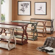 wood and iron sofa table lorraine wood scroll tv stand sofa table by inspire q classic free