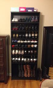 billy bookcase shoe storage ikea billy bookshelf turned into a shoe rack works beautifully also