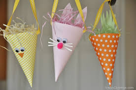 Easy Easter Decorations For The Home by Diy Paper Easter Bunny Carrot Cones
