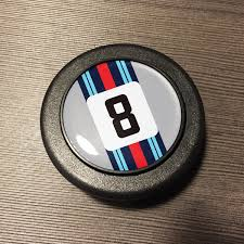 martini logo horn button martini number 8 silver car bone pl