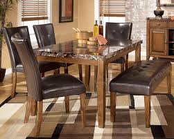 dining room set with bench top faux marble dining table with parson chairs and dining bench