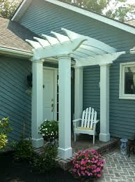 bungalow pergola above front door slate blue charcoal painted