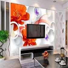 wallpaper bunga lingkaran beibehang kustom wallpaper air bunga mawar merah kupu kupu 3d bunga