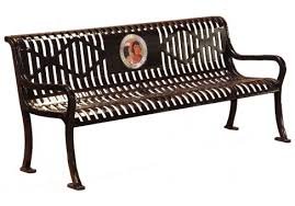 memorial benches 5 custom two color perforated roll formed logo bench commercial