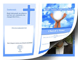 program paper printable church brochure bifold