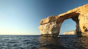 pan shot view of azure window known as tieqa erqa a natural
