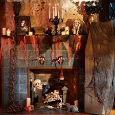 house decor for halloween in yard using scary pumpkins and black