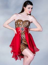 leopard print and red overlay short prom dress sung boutique l a