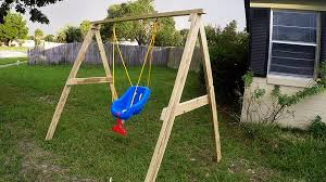 Backyard Swing Ideas Backyard How To Build A Swing Frame Rope Tree Swing With Wooden