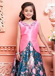 buy pink n peacock blue art silk kids gown girls gown online