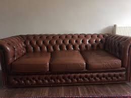 Distressed Leather Chesterfield Sofa Vintage Chesterfield Sofa Brown Real Leather 3 Seater Nicely