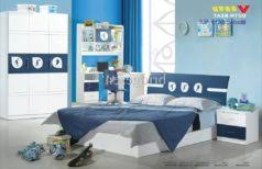 white kids bedroom furniture blue metal wardrobe next to the table