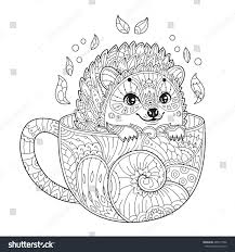 hedgehog cup antistress coloring page stock vector 485917906