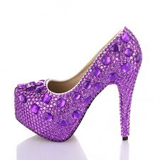 wedding shoes rhinestones velcans velcans women purple high heels rhinestone