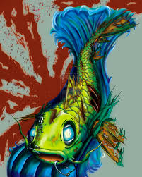 zombie koi fish tattoo design