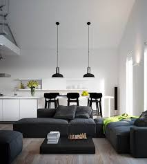 Kitchen Living Room Ideas Adorable Black Big Lounge Design And Outstanding Black Pendant