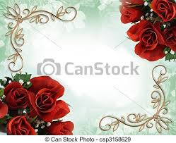 red roses border wedding invitation image and illustration
