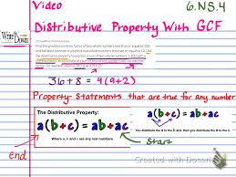 Worksheets Distributive Property 6 Ns 4 Distributive Property With Gcf Youtube