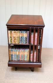 decorating mahogany wood 3 tier revolving bookcase for home